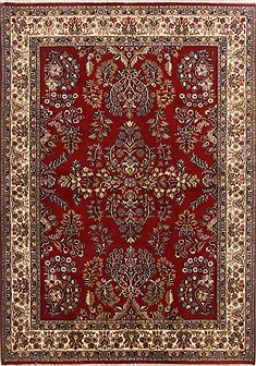 Indian Tabriz Red Rectangle 5x7 ft Wool Carpet 17730