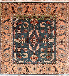 Pakistani Pishavar Blue Square 7 to 8 ft Wool Carpet 17796