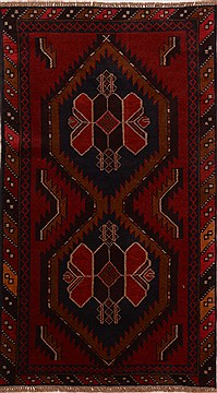 Afghan Baluch Red Rectangle 4x6 ft Wool Carpet 17851