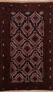 Afghan Baluch Blue Rectangle 4x6 ft Wool Carpet 17894