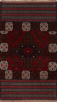 "Baluch Red Hand Knotted 2'7"" X 4'7""  Area Rug 100-17915"