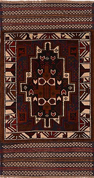 Afghan Baluch Red Rectangle 3x5 ft Wool Carpet 17916