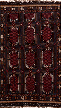 Afghan Baluch Black Rectangle 3x5 ft Wool Carpet 17931