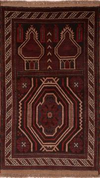 Afghan Baluch Brown Rectangle 3x4 ft Wool Carpet 17944