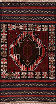 Afghan Baluch Red Rectangle 3x4 ft Wool Carpet 17984