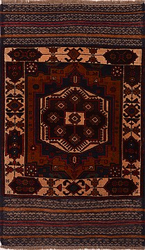 Afghan Baluch Brown Rectangle 3x5 ft Wool Carpet 17985