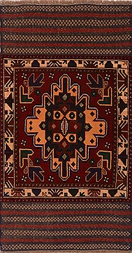 Afghan Baluch Red Rectangle 3x5 ft Wool Carpet 17986