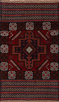 Afghan Baluch Red Rectangle 3x4 ft Wool Carpet 17987