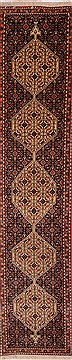 "Sanandaj Black Runner Hand Knotted 1'9"" X 8'2""  Area Rug 100-18166"