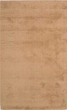 Indian Shaggy Beige Rectangle 5x8 ft Wool Carpet 18437