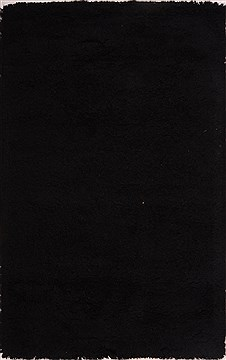 Indian Shaggy Black Rectangle 5x8 ft Wool Carpet 18440