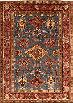 Pakistani Kazak Blue Rectangle 7x9 ft Wool Carpet 18968