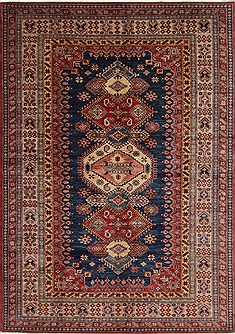 Pakistani Kazak Blue Rectangle 7x10 ft Wool Carpet 19049