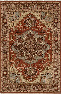 Indian Serapi Orange Rectangle 6x9 ft Wool Carpet 19062