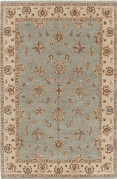 Indian Chobi Blue Rectangle 6x9 ft Wool Carpet 19074