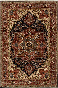Indian Serapi Orange Rectangle 6x9 ft Wool Carpet 19079