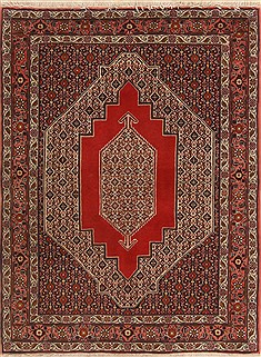 "Sanandaj Red Hand Knotted 4'1"" X 5'5""  Area Rug 250-19261"