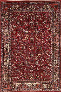 Persian Mashad Red Rectangle 7x10 ft Wool Carpet 19271