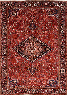 Persian Heriz Red Rectangle 7x10 ft Wool Carpet 19286