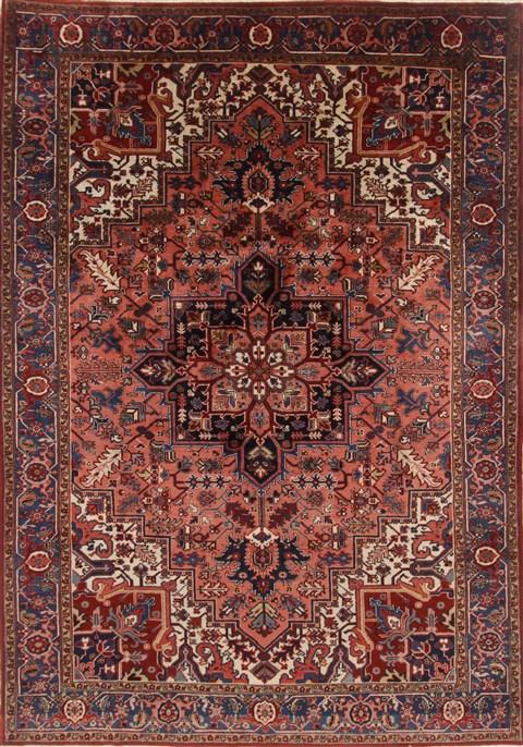Persian Heriz Blue Rectangle 8x11 Ft Wool Carpet 19288