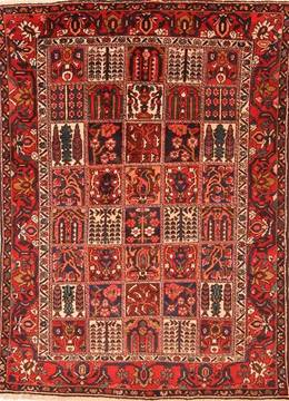 Persian Bakhtiar Red Rectangle 7x10 ft Wool Carpet 19317