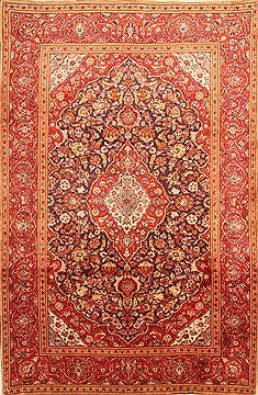 Persian Kashan Red Rectangle 7x10 ft Wool Carpet 19318