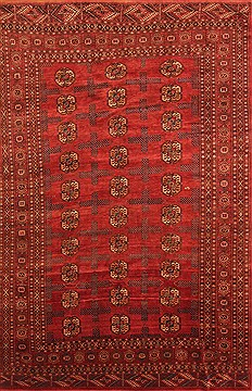 Afghan Bokhara Red Rectangle 7x10 ft Wool Carpet 19321