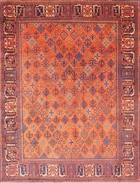 Persian Joshaghan Orange Rectangle 7x10 ft Wool Carpet 19324