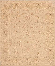 Pakistani Chobi Beige Rectangle 8x10 ft Wool Carpet 19341