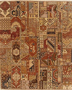 Indian Patchwork Multicolor Rectangle 8x10 ft Wool Carpet 19347