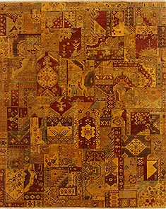 Indian Patchwork Yellow Rectangle 8x10 ft Wool Carpet 19357