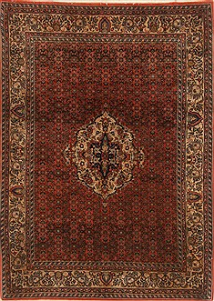 Persian Bidjar Orange Rectangle 5x7 ft Wool Carpet 19374