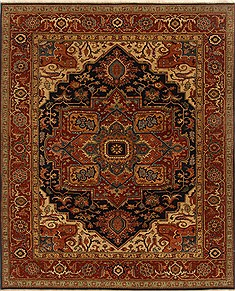"Indian Serapi  Wool Orange Area Rug  (8'0"" x 10'0"") - 250 - 19393"