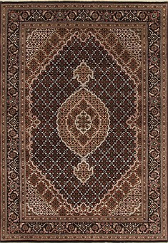 Indian Tabriz Black Rectangle 5x7 ft Wool Carpet 19417