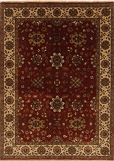 Indian Mashad Orange Rectangle 5x7 ft Wool Carpet 19422