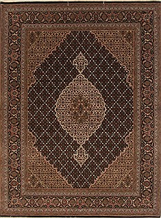 Indian Tabriz Black Rectangle 5x7 ft Wool Carpet 19426