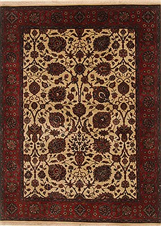 Indian Tabriz Red Rectangle 5x7 ft Wool Carpet 19429