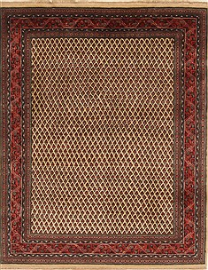 Indian Mashad Red Rectangle 5x7 ft Wool Carpet 19430