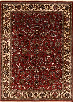 Indian Mashad Red Rectangle 5x7 ft Wool Carpet 19436