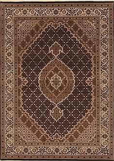 Indian Tabriz Black Rectangle 5x7 ft Wool Carpet 19440