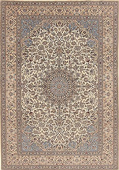 Persian Nain Blue Rectangle 7x10 ft Wool Carpet 19450