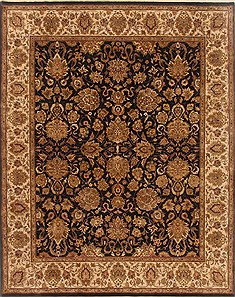 "Agra Black Hand Knotted 8'1"" X 10'5""  Area Rug 250-19491"
