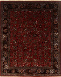 Indian Tabriz Red Rectangle 8x10 ft Wool Carpet 19496