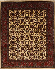Indian Tabriz Beige Rectangle 8x10 ft Wool Carpet 19497