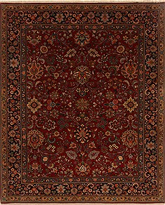Indian Isfahan Red Rectangle 8x10 ft Wool Carpet 19504