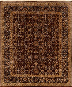 Indian Kashan Brown Rectangle 8x10 ft Wool Carpet 19541