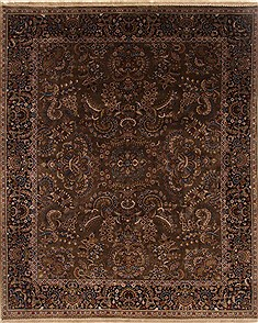 Indian sarouk Brown Rectangle 8x10 ft Wool Carpet 19547