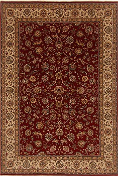 Indian Isfahan Red Rectangle 7x10 ft Wool Carpet 19560