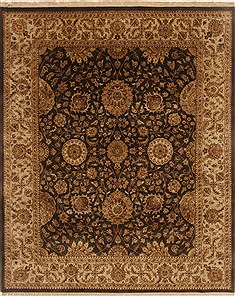 Indian Jaipur Black Rectangle 8x10 ft Wool Carpet 19568