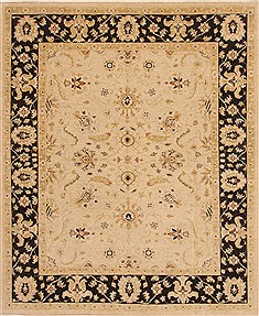 Pakistani Chobi Beige Rectangle 8x10 ft Wool Carpet 19578